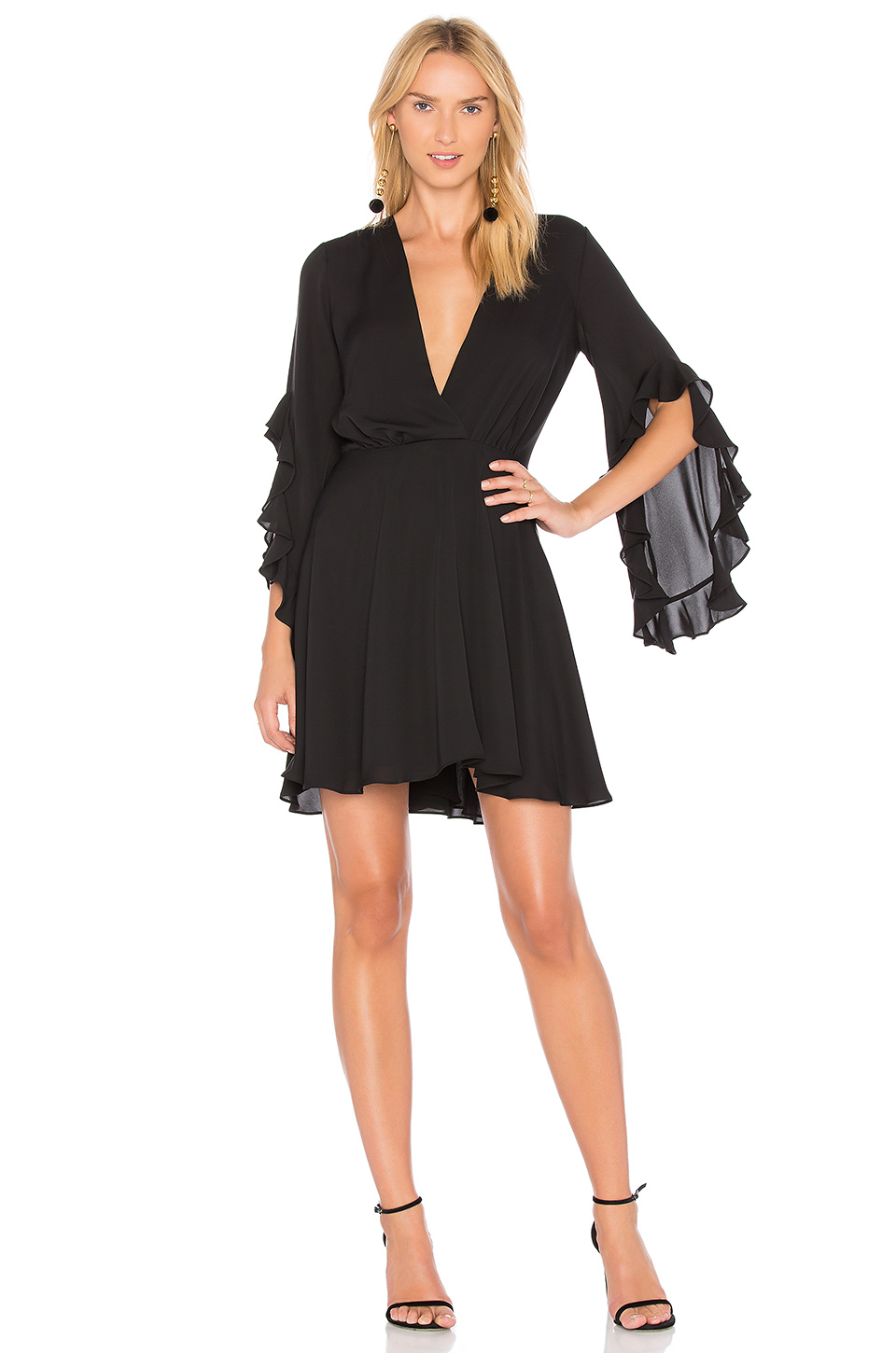 Amanda Uprichard Flutter Sleeve Dress in Black